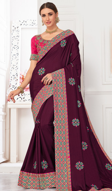 Burgundy Color Shaded Silk Sari