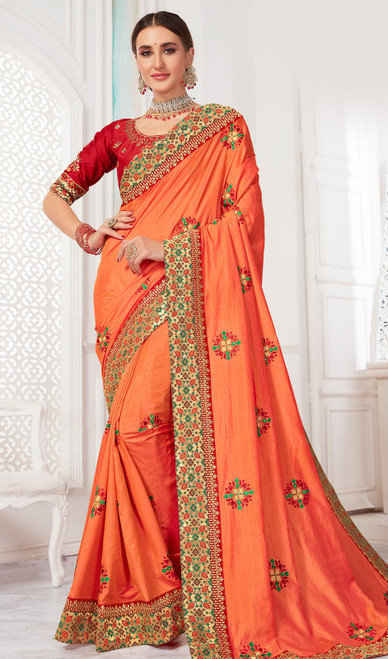 Embroidered Silk Orange Color Sari