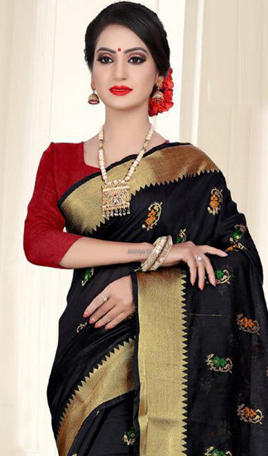 Black and Red Color Shaded Cotton Silk Sari