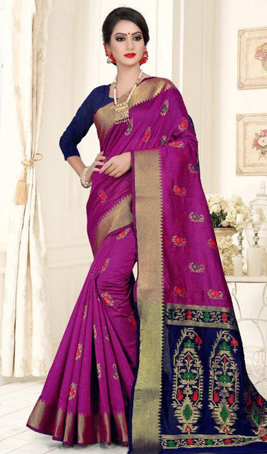 Pink and Navy Blue Color Shaded Cotton Silk Sari