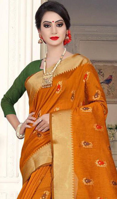 Yellow and Green Color Shaded Cotton Silk Sari
