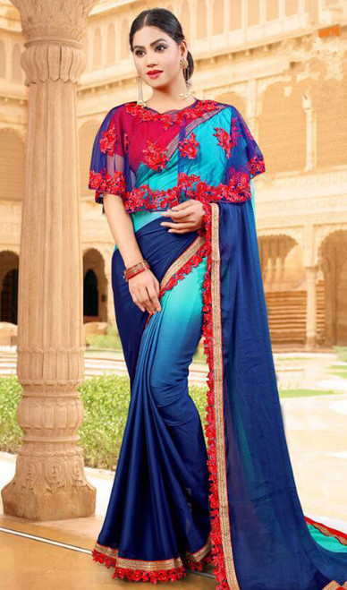 Navy Blue and Blue Color Shaded Fancy Sari