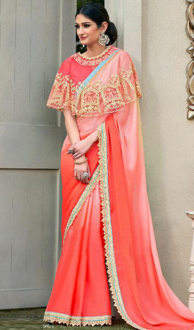 Peach Color Shaded Embroidered Fancy Sari