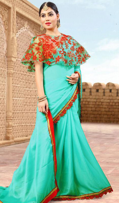 Aqua Blue Color Shaded Fancy Sari