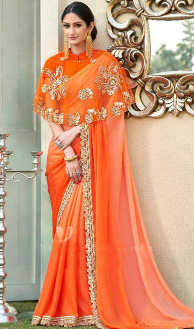 Orange Color Shaded Fancy Sari