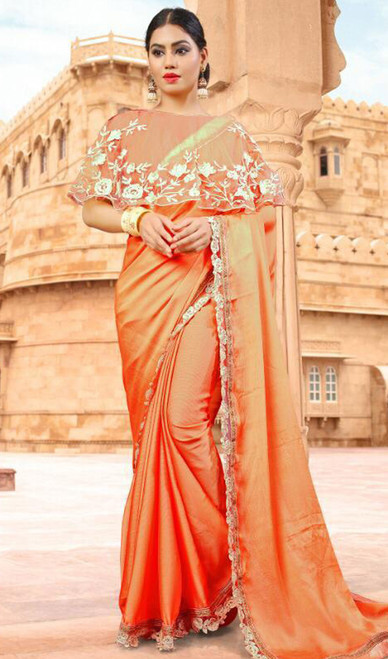 Orange Color Embroidered Fancy Sari
