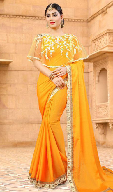 Yellow Color Shaded Fancy Embroidered Sari