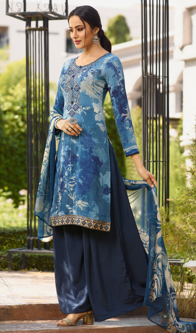 Blue Color Shaded Crepe Palazzo Suit