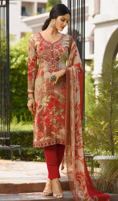 Beige and Red Color Shaded Crepe Pant Style Suit