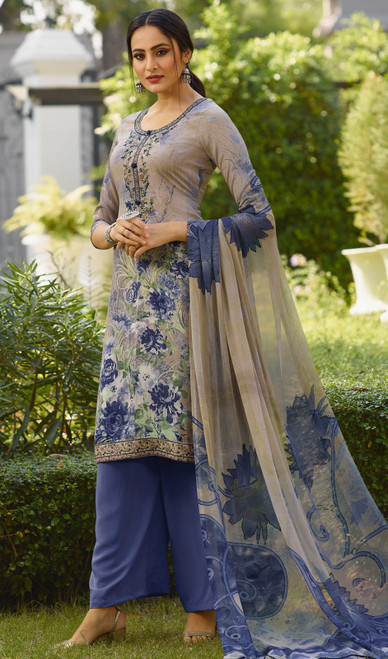 Gray Color Shaded Crepe Palazzo Suit