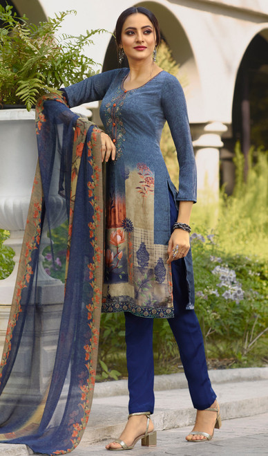 Blue Color Shaded Crepe Pant Style Suit