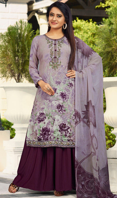 Purple Color Shaded Crepe Palazzo Suit