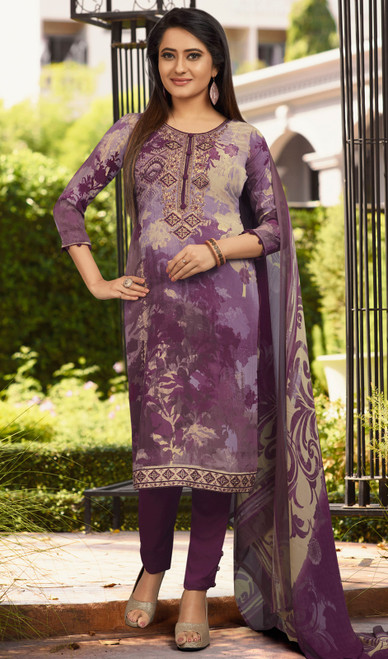 Pant Style Suit in Purple Color Shaded Crepe