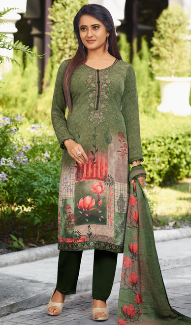 Pant Style Suit, Crepe Fabric in Green Color Shaded
