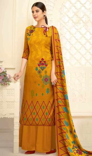 Mustard Color Shaded Pasmina Jacquard Palazzo Suit