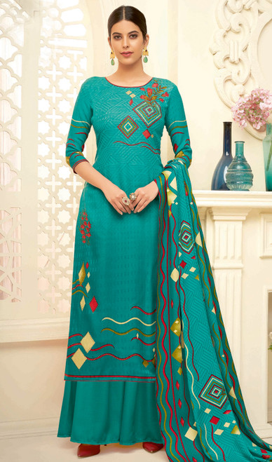 Sea Green Color Shaded Pasmina Jacquard Palazzo Dress