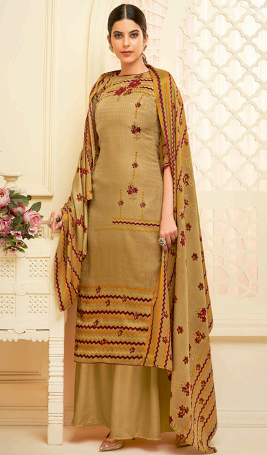 Beige Color Shaded Pasmina Jacquard Palazzo Suit