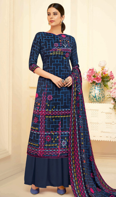Navy Blue Color Shaded Pasmina Jacquard Palazzo Suit