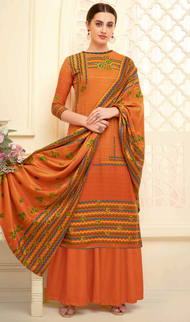 Palazzo Dress in Orange Color Shaded Pasmina Jacquard