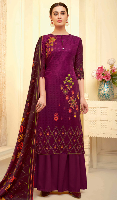 Palazzo Suit, Pasmina Jacquard Fabric in Violet Color Shaded