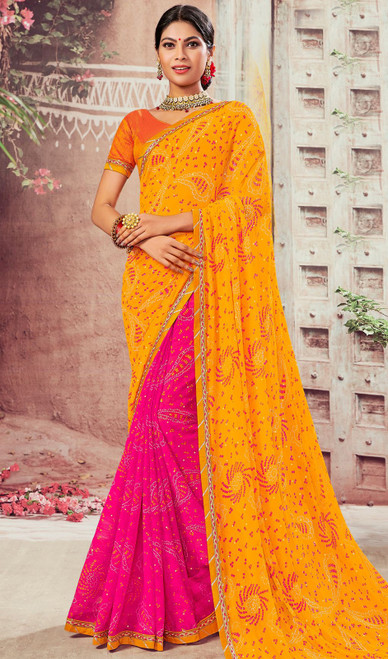 Yellow and Pink Color Chiffon Half N Half Sari