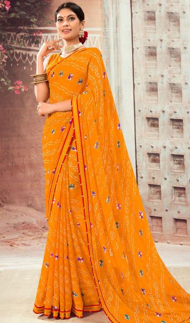 Orange Color Shaded Chiffon Sari