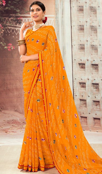 Orange Color Shaded Chiffon Sari