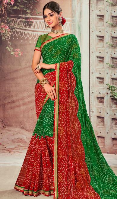 Green and Red Color Shaded Chiffon Sari