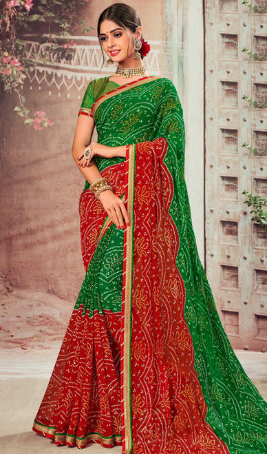 Green and Red Color Shaded Chiffon Sari