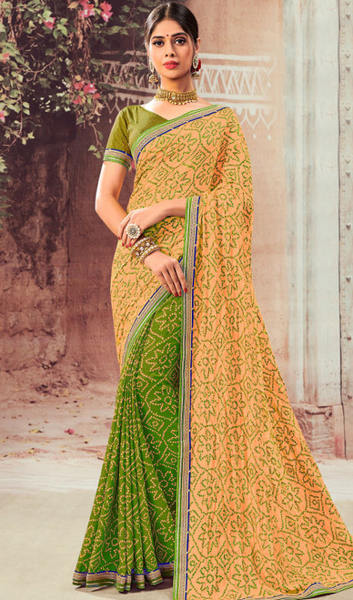 Beige and Green Color Chiffon Half N Half Sari