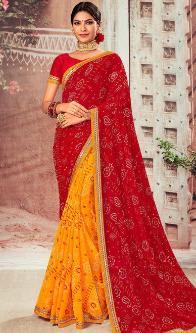 Red and Yellow Color Chiffon Half N Half Sari