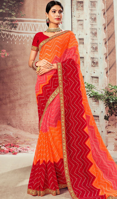 Multicolor Shaded Chiffon Sari