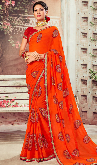 Chiffon Sari in Orange Color Shaded