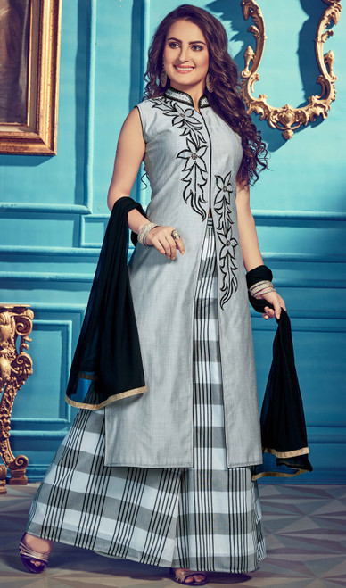 Gray Color Embroidered Chanderi Silk Suit