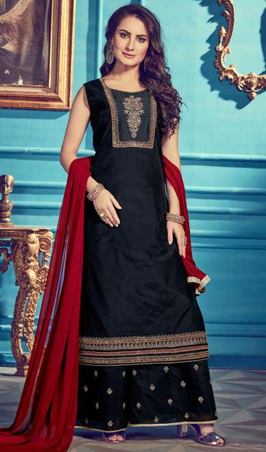 Black Color Chanderi Silk Embroidered Dress