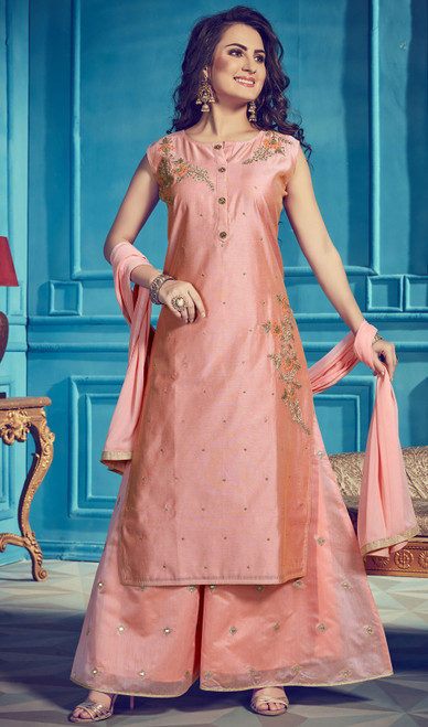 Peach Color Embroidered Chanderi Silk Suit