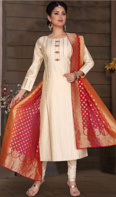 Cream Color Chanderi Silk Embroidered Churidar Suit