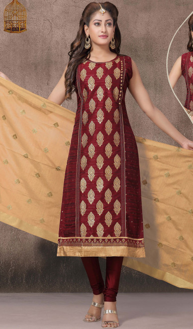 Maroon Color Embroidered Chanderi Silk Churidar Dress