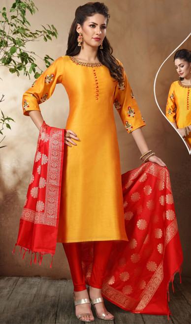 Yellow Color Banarasi Chanderi Churidar Suit