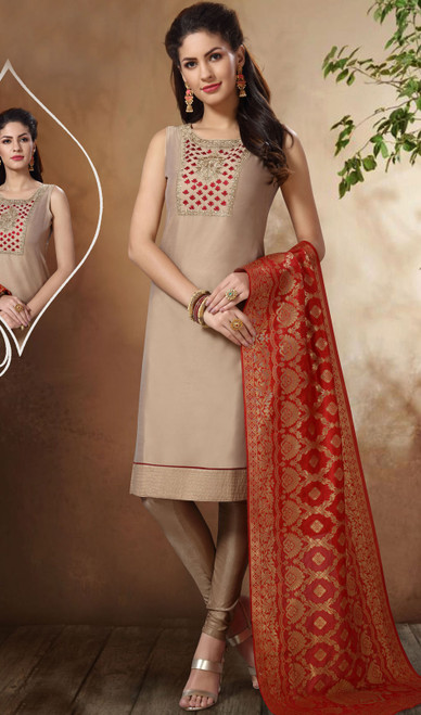 Beige Color Shaded Banarasi Chanderi Suit