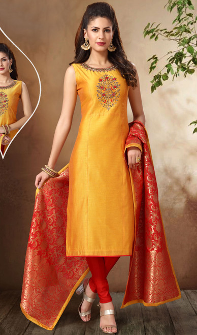 Yellow Color Shaded Banarasi Chanderi Suit