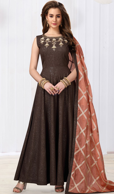 Brown Color Jacquard Silk Anarkali Suit