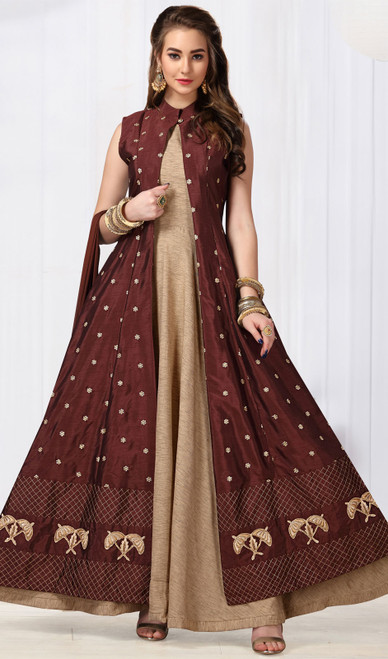 Maroon and Beige Color Chanderi Silk Anarkali Dress