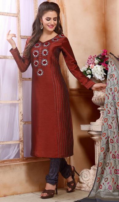 Maroon Color Shaded Chanderi Silk Churidar Kameez