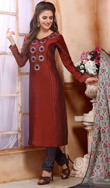 Maroon Color Shaded Chanderi Silk Churidar Kameez