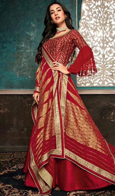 Embroidered Red Color Silk Anarkali Suit