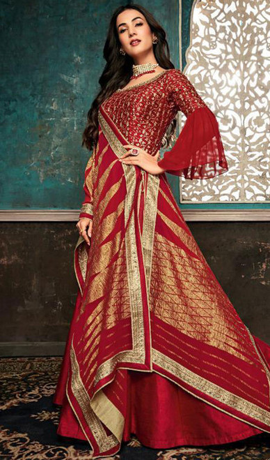 Embroidered Red Color Silk Anarkali Suit