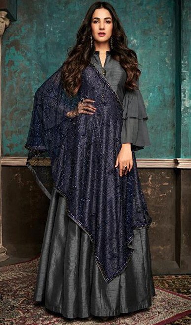 Embroidered Gray Color Silk Anarkali Dress