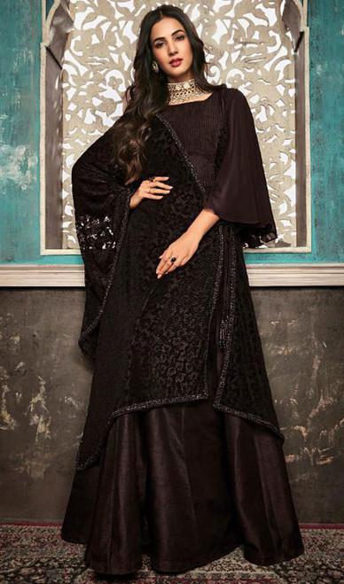 Black Color Embroidered Silk Anarkali Suit