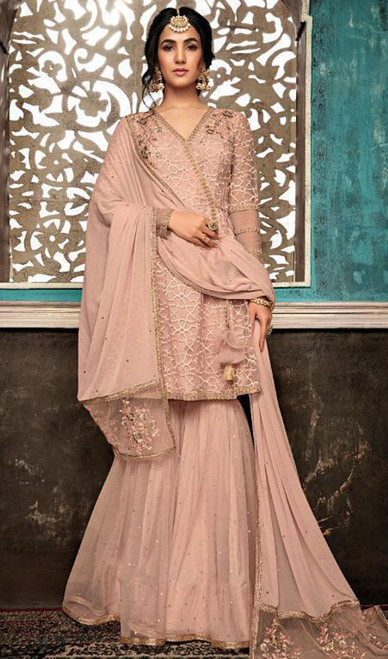 Pink Color Net Embroidered Palazzo Suit